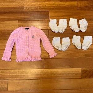 Bundle of Girl Cardigan and 4 pairs of socks